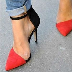 Zara Colorblock Red Black Suede Ankle Strap Heels